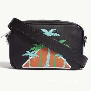 PRADA 2018 Canapa Palm Tree Camera Bag